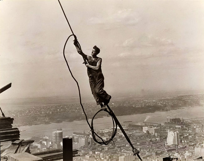 Empire State Building construction, 1930. Photo provided by the New York Public Library (Public Domain)