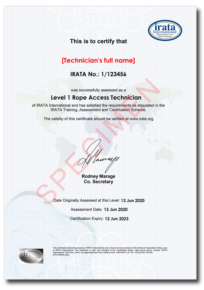Sample IRATA certificate. Note the foil hologram on the lower left hand side.
